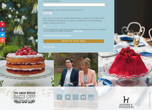 Landing page for Great British Bake Off
