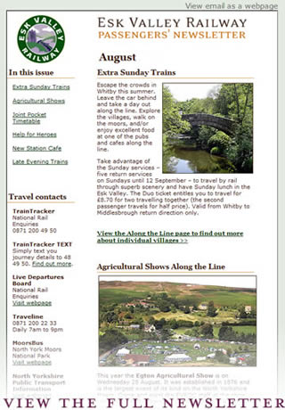 Esk Valley Railway email newsletter