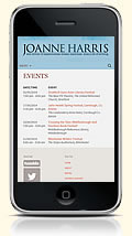 Joanne Harris website on a mobile